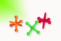 bright colored toy jacks Royalty Free Stock Images