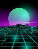 Neon Future Glitch Background. Futuristic neon grid lines and mountain landscape with a neon sun in purple and green. Glitch background vector illustration Stock Images