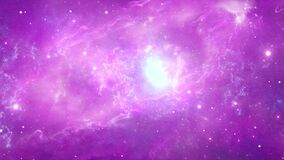 Neon galaxy is in center of nebula clouds in the universe, space Loop Animation Background.