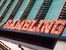 Neon Gambling sign at casino, Fremont Street, Las Vegas, Nevad Royalty Free Stock Photo