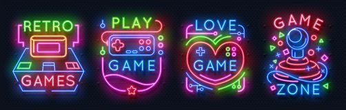 Neon game signs. Retro video games zone, player room glowing emblems, night light labels. Vector glowing gamer icons vector illustration