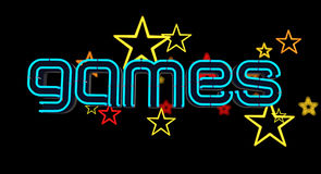 Neon Games Sign. On dark background with stars. 3D illustration royalty free illustration