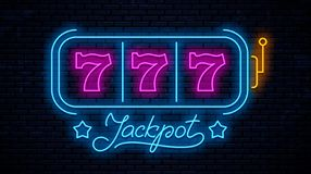 Neon gaming slot machine 777 vector illustration