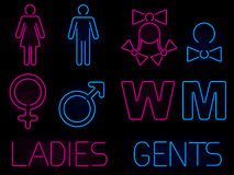 Neon gender signs Royalty Free Stock Photography