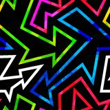 Neon geometric seamless pattern with grunge effect. (eps 10 vector illustration