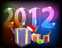 Neon gift 2012 year. Illustration Royalty Free Stock Photography