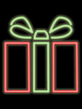 Neon gift package vector illustration