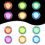 Neon glass buttons. Different color glass neon buttons Stock Photography