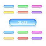 Neon glass buttons. Red, blue, green, yellow, magenta and pink glass buttons Royalty Free Stock Photos