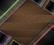 Neon glass and wood background Royalty Free Stock Photo
