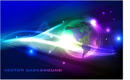 Neon globe abstract background Stock Photos
