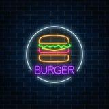 Neon gloeiend teken van hamburger in cirkelkader op een donkere bakstenen muurachtergrond Fastfood licht aanplakbordsymbool royalty-vrije illustratie