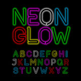 Neon glow alphabet Royalty Free Stock Images