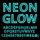 Neon glow alphabet custom handcrafted font. Royalty Free Stock Images