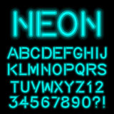 Neon glow alphabet custom handcrafted font. Stock Photos