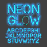 Neon Glow alphabet. Letters illustration stock illustration
