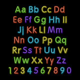 Neon glow alphabet. Vector. design, party, retro, 3d, art, font, Royalty Free Stock Photography