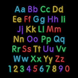 Neon glow alphabet. Vector. design, party, retro, 3d, art, font, Stock Photo