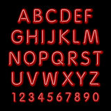 Neon glow alphabet. Vector design party retro 3d neon font, Royalty Free Stock Photography