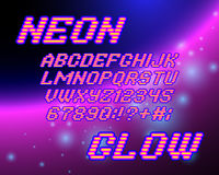 Neon glow font Stock Photography