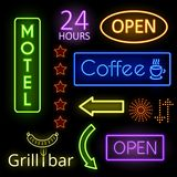 Neon glow signs. Set of neon glow signs. Coffee, open and motel. Signboard, pointer. Vector illustration Royalty Free Stock Image