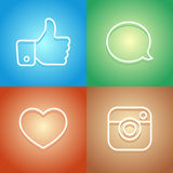 Neon Glow Social Network Modern Icons and Stickers Royalty Free Stock Images
