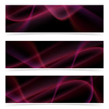 Neon glow swoosh line header collection Royalty Free Stock Photo