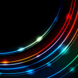 Neon glowing arc lines abstract vector background Royalty Free Stock Photo