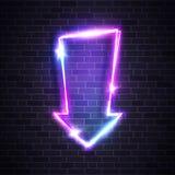 Neon glow arrow pointer on brick wall background. Neon glowing arrow pointer on dark brick wall background. Colorful shining retro light sign. Vintage retro royalty free illustration