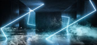 Neon Glowing Blue Cyber Modern Alien Spaceship Sci Fi Futuristic Rectangle Shaped Glowing Lights Smoke And Fog Dark Concrete. Grunge Empty Room 3D Rendering vector illustration