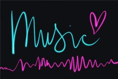 Neon glowing bright pink heart sign, isolated clipart. Neon glowing sound wave vibration line, isolated on dark background. Light painting. Music clipart royalty free illustration