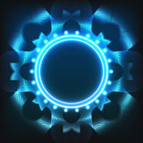 Neon, glowing circle on abstract background Royalty Free Stock Photos
