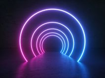 Neon Glowing Circle Round Shape Tubes On Reflection Concrete Floor