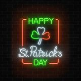 Neon glowing clover leaf sign in ireland flag colors on a dark brick wall background. Green shamrock as Irish national holiday symbol in circle frames. Vector vector illustration