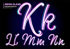 Neon Glowing 3D Typeset. Font Set of Glass Letters. Glossy Pink. And Blue Colors. Night Glow Effect. Tube Alphabet. ABC for DJ Poster, Sale Banner, Signboard vector illustration