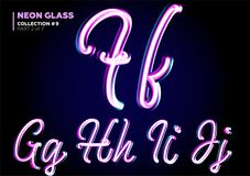 Neon Glowing 3D Typeset. Font Set of Glass Letters. Glossy Pink Stock Image