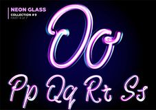 Neon Glowing 3D Typeset. Font Set of Glass Letters. Glossy Pink Royalty Free Stock Images