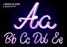 Neon Glowing 3D Typeset. Font Set of Glass Letters. Royalty Free Stock Photos