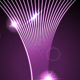 Neon glowing laser wavy lines abstract background. Shiny purple vector design Stock Photos