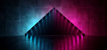 Neon Glowing Led Laser Virtual Reality Optical Illusion Infinity Glow Mirror Box Grunge Concrete Reflective Room Fluorescent. Vibrant Blue Purple Glowing Lights stock illustration