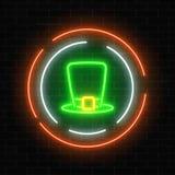 Neon glowing leprechaun hat sign on a dark brick wall background. Green hat as Irish national holiday symbol in circle frames. Vector illustration Royalty Free Stock Photos
