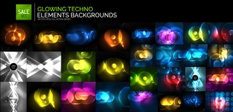 Neon glowing light abstract backgrounds collection. Mega set of energy concept backgrounds Stock Images