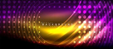 Neon glowing lines, magic energy space light concept, abstract background wallpaper design. Vector illustration Stock Photography
