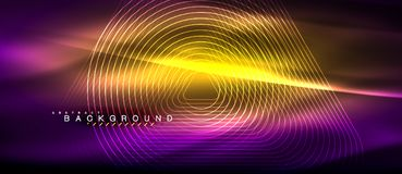 Neon glowing lines, magic energy space light concept, abstract background wallpaper design. Vector illustration Stock Photos