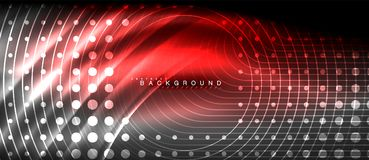Neon glowing lines, magic energy space light concept, abstract background wallpaper design. Vector illustration Stock Image