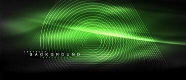 Neon glowing lines, magic energy space light concept, abstract background wallpaper design. Vector illustration Royalty Free Stock Photo
