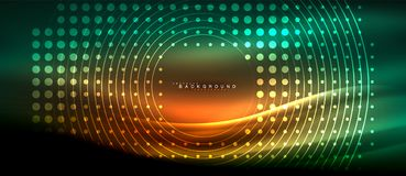 Neon glowing lines, magic energy space light concept, abstract background wallpaper design. Vector illustration Stock Images