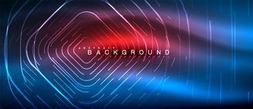 Neon glowing lines, magic energy space light concept, abstract background wallpaper design. Vector illustration royalty free illustration