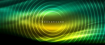 Neon glowing lines, magic energy space light concept, abstract background wallpaper design. Vector illustration Royalty Free Stock Images