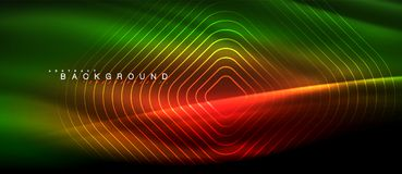 Neon glowing lines, magic energy space light concept, abstract background wallpaper design. Vector illustration Royalty Free Stock Image